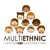 Multiethnic community design — Stock Vector