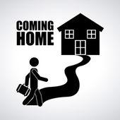 Tornando a casa — Vettoriale Stock