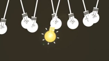 Light bulb set Video Animation HD 1080 — Stock Video