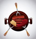 Delicious barbecue barbeque  — Stock Vector