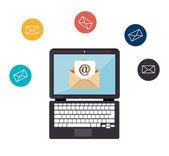 Email design, vector illustration. — Vetor de Stock