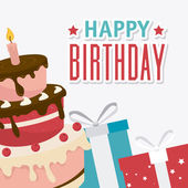 Happy birthday card design. — Stock Vector