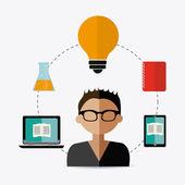 E- learning design illustration — Stock Vector