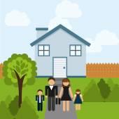 Šťastná rodina — Stock vektor