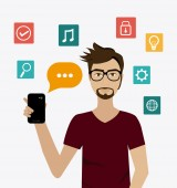 Chat mobile design. — Stock Vector