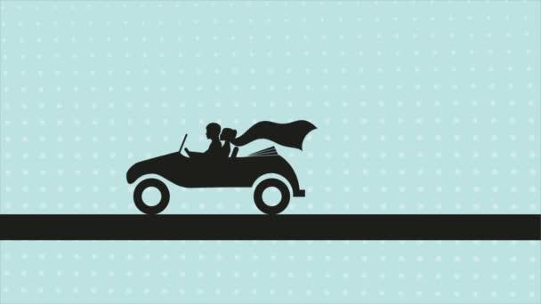 Apenas casados, Video animación — Vídeo de stock