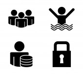 Verzekering pictogrammen — Stockvector