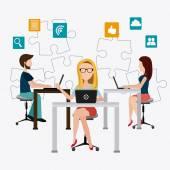Coworking design. — Stockvektor
