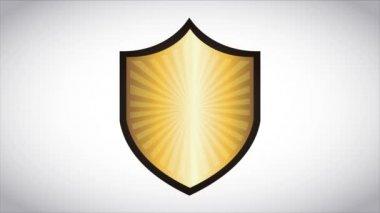 Golden shield, Video animation — Stock Video