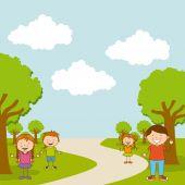 Children in the park — Stock Vector