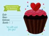 Birthday invitation with cake — Stock Vector