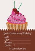 Birthday invitation with cake — 图库矢量图片