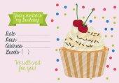 Birthday invitation with cupcake — Stock Vector