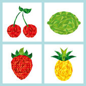 Delicious fruits set — Stock Vector
