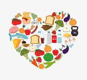 Diseño visual de alimentos saludables — Vector de stock
