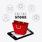 Online shopping design. — Stock Vector