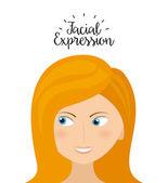 Expression facial — Stock Vector