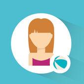 Avatar icon beach — Stock Vector