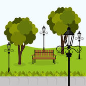 Projeto de parque urbano. — Vetor de Stock