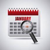 Search in calendar — Stock Vector