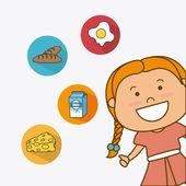 Çocukların beslenme tasarım. — Stok Vektör