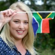 Beutiful Woman with South African Flag — Stock Photo #57481055