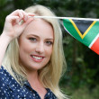 Beutiful Woman with South African Flag — Stock Photo #57644949