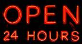 24 uur per dag geopend neon teken — Stockfoto