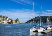 Sailing Yachts Moored at Dartmouth, England — 图库照片