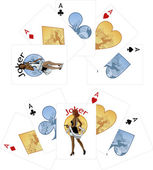 Four aces and Afroamerican Joker playing cards noir Mafia set — Stock Vector