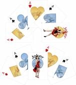 Four aces and Caucasian Joker playing cards noir Mafia set — Stock Vector