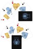 Four aces playing cards noir Mafia set — Διανυσματικό Αρχείο