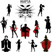 Female characters Silhouettes retro Mafia set — Stock Vector
