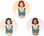 Woman in air hostess uniform support expert — Stock Vector