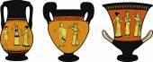 Ancient Greek utensil three vases — Stock Vector