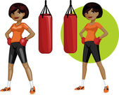 Cute young African American woman boxer — Stock Vector