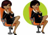 Cute young African American office woman on chair — Stock Vector