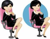 Cute young Asian office woman on chair — Stock Vector