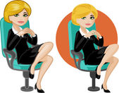 Cute young Caucasian office woman on chair — Stock Vector