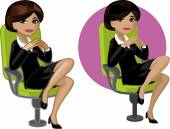 Cute young Indonesian office woman on chair — Stock Vector