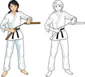 Asian Nunchuck girl in karategi — Vector de stock