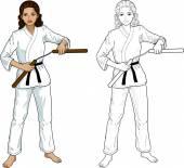 Indonesian Nunchuck girl in karategi — Stock Vector