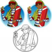 Christmas elf African American boy with gift set — Vetor de Stock