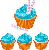 Blue cream cupcake — Stock Vector