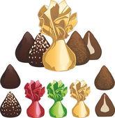 Truffle chocolate candies — Stock Vector