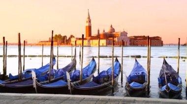 Gondolas in Venezia — Stock Video