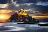 Mont Saint Michel at sunset, France — Stock Photo