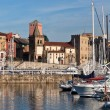 View on Old Port of Gijon and Yachts — Stock Photo #55866029
