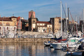 View on Old Port of Gijon and Yachts — Stok fotoğraf