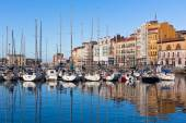 View on Old Port of Gijon and Yachts, Asturias, Northern Spain — Stok fotoğraf